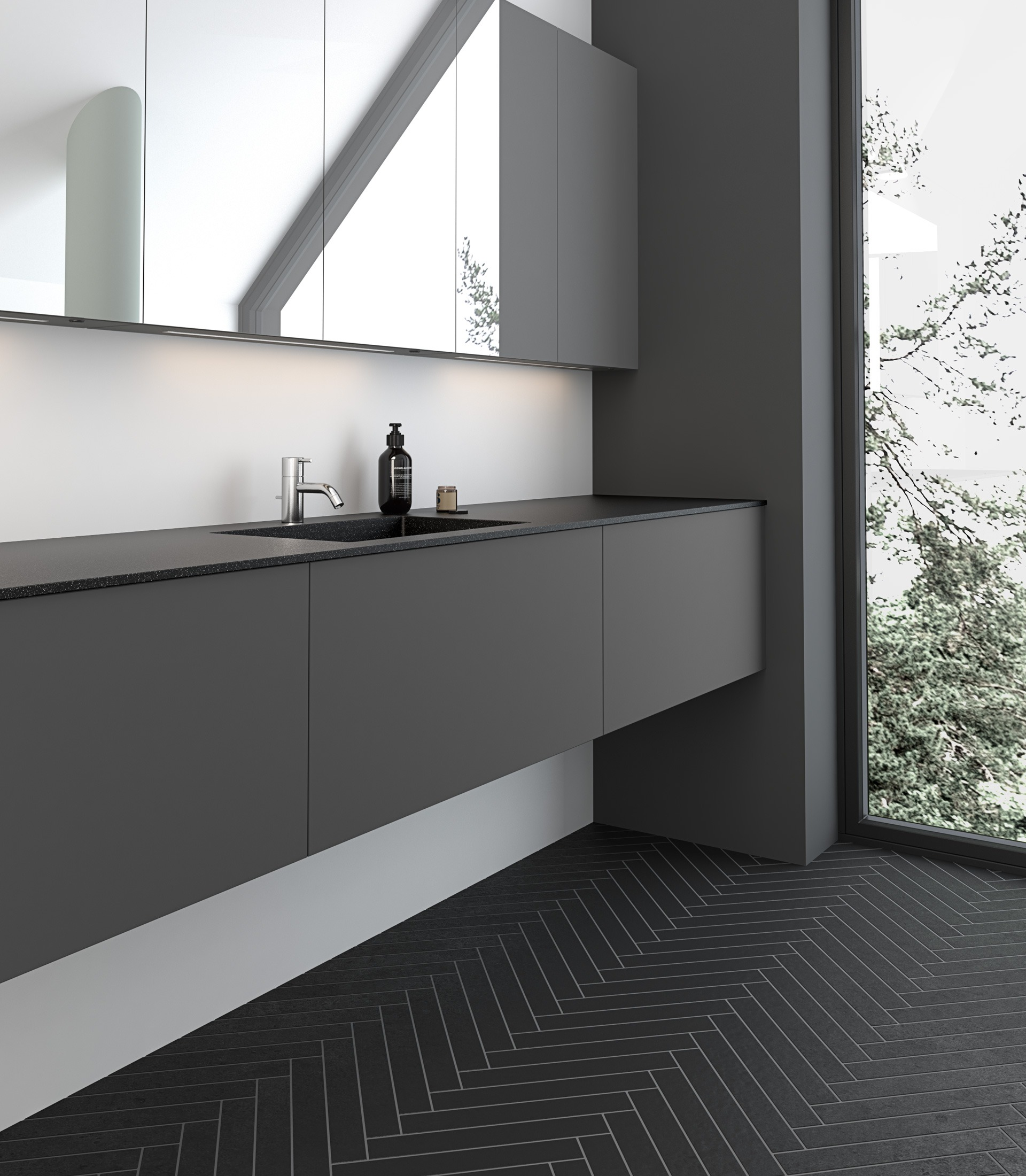Floor tiles and furniture for bathrooms